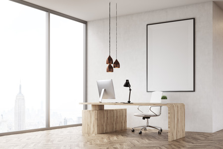 ceo office: Corner of CEO office with table and large vertical poster on concrete wall. Wooden decoration in the background. 3d rendering. Mock up. Stock Photo