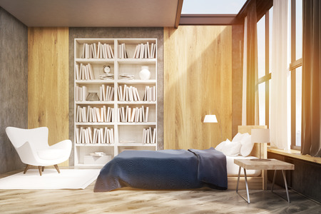 carpet flooring: Bedroom interior with window and wooden wall elements. Large bookcase is situated near a white armchair. 3d rendering. Toned image