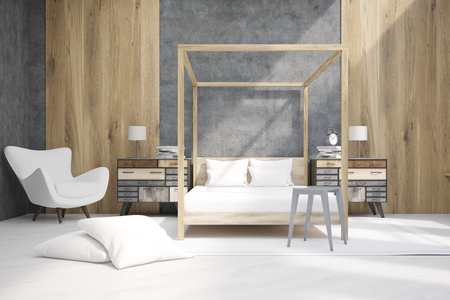 headboard: Bedroom interior containing a bed with pillars, an armchair and two bedside tables. Large pillows are laying on the floor. 3d rendering. Mock up