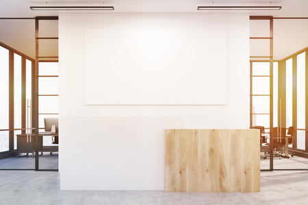 interior window: Office lobby. Large wall is decorated with a white blank poster. There is a wooden part of interior and two conference rooms by both sides. 3d rendering. Mock up. Toned image Stock Photo