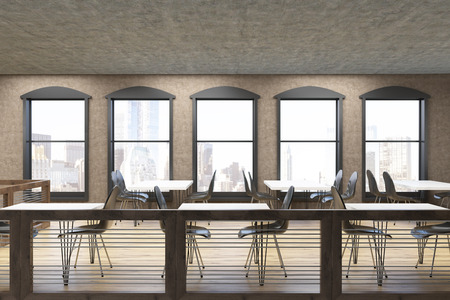 comfort food: Loft cafe with square tables surrounded by chairs and lots of windows on brown walls. Concept of eating out. 3d rendering