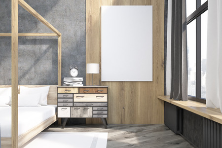 headboard: Close up of large vertical poster hanging on wooden part of the wall in the bedroom with pillared bed. 3d rendering. Mock up