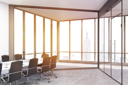 toning: Conference room with panoramic windows and doors in a big city office. Long table is surrounded by chairs. 3d rendering. Toned image Stock Photo