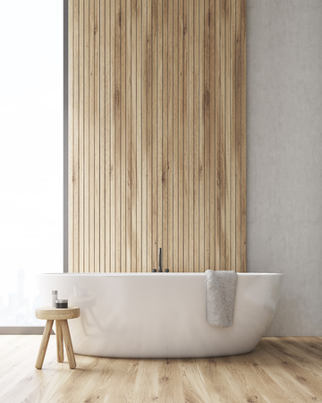 Front view of a bathroom interior. There is a large wooden wall segment. Bathtub is standing near it. Small chair and a towel. 3d rendering. Mock up.