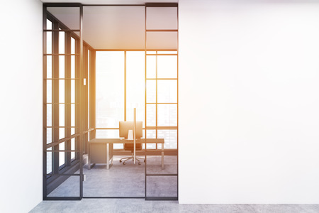 ceo office: Entrance to the CEO office with a desktop on the table and large panoramic window. 3d rendering. Mock up. Toned image