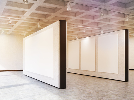 image size: Side view of exhibition hall walls with posters of different size hanging on them. Concept of your ads here. 3d rendering. Mock up. Toned image Stock Photo