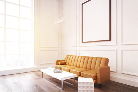 Side view of a living room interior with white walls, large brown sofa, a coffee table with a jar and a white set of drawers. 3d rendering. Mock up. Toned image