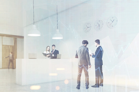 colleague: Two businessmen are talking in a hall with a reception counter. Their colleague is trying to escape the building. 3d rendering. Mock up. Toned image. Double exposure