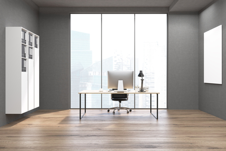 ceo office: CEO office with white bookcase, a poster and a large table with a computer on it. Panoramic window. 3d rendering. Mock up. Stock Photo