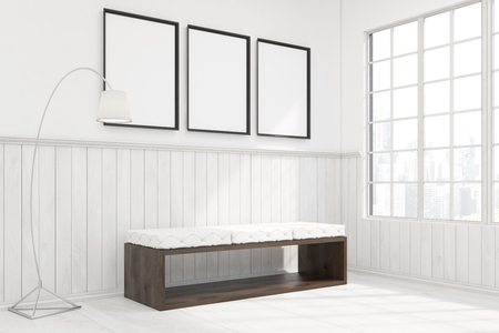 standing lamp: Side view of a bench with white pillows is standing in a room with wooden and concrete walls and a lamp. There are three framed posters and a window. 3d rendering. Mock up. Stock Photo