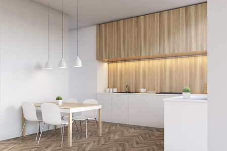 counter top: Side view of a kitchen interior with a long counter top and a dining table near a white wall. Wooden furniture. 3d rendering. Mock up.