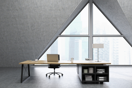 ceo office: CEO office with a large triangular window, a large table with a notebook and a lamp. 3d rendering. Mock up