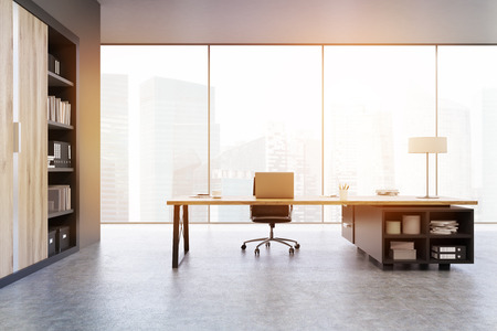 ceo office: View of a CEO office with large wooden doors, panoramic windows, big wooden table and a bookcase. 3d rendering. Mock up. Toned image