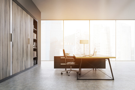ceo office: Side view of a CEO office with large wooden doors, panoramic windows, big wooden table and a bookcase. 3d rendering. Mock up. Toned image Stock Photo