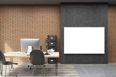 ceo office: Front view of CEO office with large horizontal poster on black part of the wall. Table with computer is beside small file case. 3d rendering. Mock up.