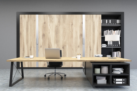 ceo office: Front view of a CEO office with large wooden doors, panoramic windows, big wooden table and a bookcase. 3d rendering. Mock up. Stock Photo
