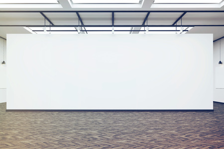 Front view of a large blank white wall in an art gallery. Dark wood floor. Concept of exhibition. 3d rendering. Mock up. Toned image