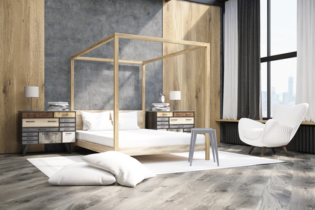 bedside tables: Side view of bedroom interior containing a bed with pillars, an armchair and two bedside tables. Large pillows are laying on the floor. 3d rendering. Mock up