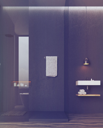 luxury interior: Bathroom and toilet interior. Black walls. Rectangular sink with a wooden shelf with towels under it. Large mirror. Concept of luxury interior. 3d rendering. Toned image Stock Photo