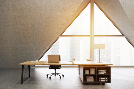 ceo office: CEO office with a large triangular window, a large table with a notebook and a lamp. 3d rendering. Mock up. Toned image Stock Photo