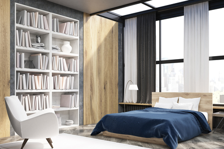 Corner of bedroom interior with window and wooden wall elements. Large bookcase is situated near a white armchair. 3d rendering. Stock Photo