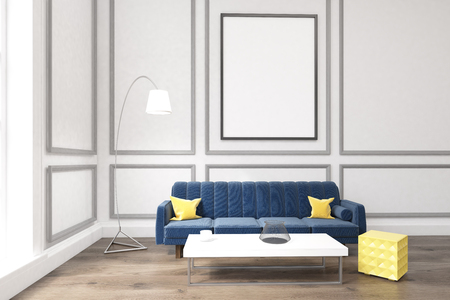 Living Room Interior With White Walls, Large Blue Sofa With Cushions, A  Coffee Table