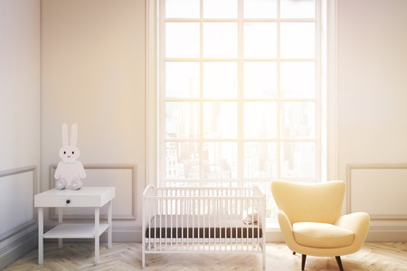 bed room: Front view of a babys room interior with a cradle, an armchair and a bedside table. There is a large window with a cityscape. 3d rendering. Mock up. Toned image