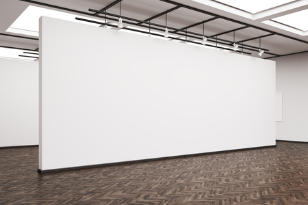 Side veiw of a large blank white wall in an art gallery. Dark wood floor. Concept of exhibition. 3d rendering. Mock up