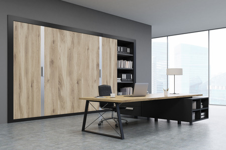 ceo office: CEO office with large wooden doors, panoramic windows, big wooden table and a bookcase. 3d rendering. Mock up.