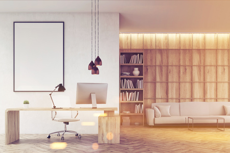 ceo office: CEO office with bookcase, sofa, table and large vertical poster on concrete wall. Wooden decoration in the background. 3d rendering. Mock up. Toned image