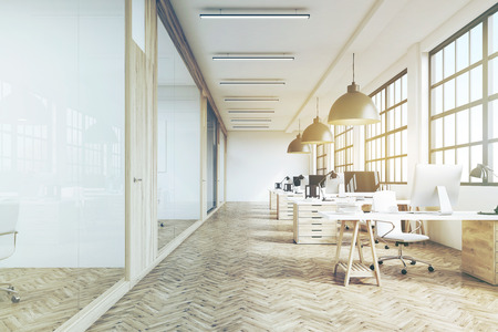 Front view of an office interior with a row of dark wood tables standing under large windows. Massive ceiling lamps. 3d rendering. Toned image