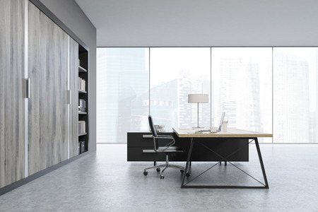 ceo office: Side view of a CEO office with large wooden doors, panoramic windows, big wooden table and a bookcase. 3d rendering. Mock up.