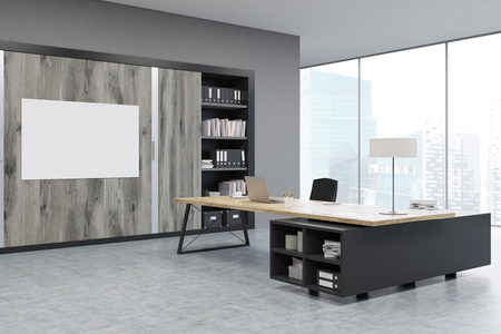 ceo office: Corner of a CEO office with large wooden doors, panoramic windows, big wooden table and a bookcase. 3d rendering. Mock up.