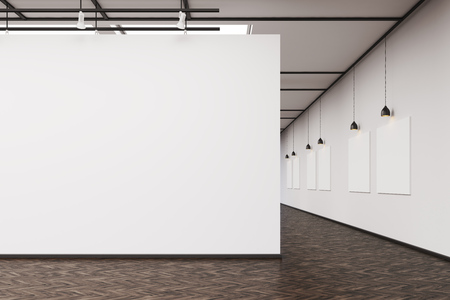 An art gallery interior. A large blank wall on the foreground. Row of pictures hanging on a wall. Concept of modern art. 3d rendering. Mock up