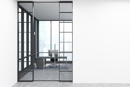 ceo office: Entrance to the CEO office with a desktop on the table and large panoramic window. 3d rendering. Mock up. Stock Photo