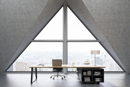 ceo office: Front view of a CEO office with a large triangular window, a large table with a notebook and a lamp. 3d rendering. Mock up