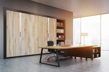 ceo: CEO office with large wooden doors, panoramic windows, big wooden table and a bookcase. 3d rendering. Mock up. Toned image