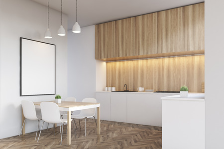 counter top: Side view of a kitchen interior with a long counter top, dining table and a poster on a white wall. Wooden furniture. 3d rendering. Mock up. Stock Photo