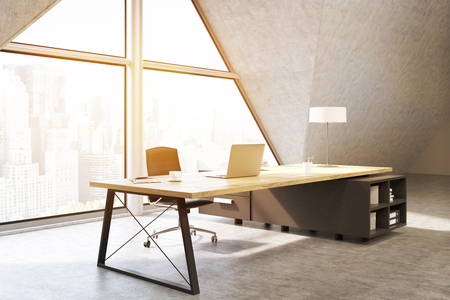 ceo office: Side view of a CEO office with a large triangular window, a large table with a notebook and a lamp. 3d rendering. Mock up. Toned image