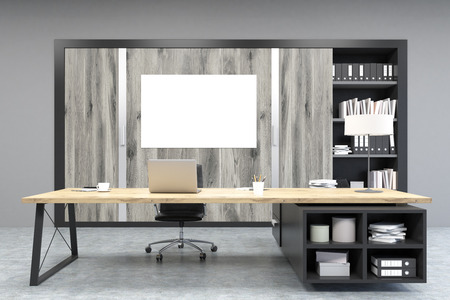 ceo office: Front view of a CEO office with a poster, large wooden doors, panoramic windows, big wooden table and a bookcase. 3d rendering. Mock up. Stock Photo