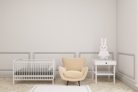 baby's: Babys room interior with a cradle, an armchair and a bedside table. There is a toy bunny on it. 3d rendering. Mock up