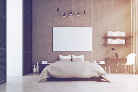 image size: Bedroom interior with king size bed, a bookshelf, a table and a chair. Large horizontal poster is hanging above the bed. 3d rendering. Mock up. Toned image Stock Photo