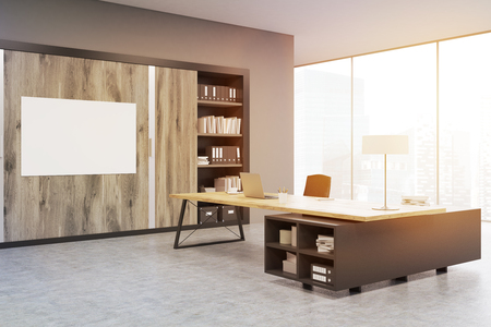 ceo office: Corner of a CEO office with large wooden doors, panoramic windows, big wooden table and a bookcase. 3d rendering. Mock up. Toned image