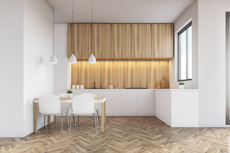 counter top: Kitchen interior with a long counter top, dining table and a window in a white wall. Wooden furniture. 3d rendering. Mock up. Stock Photo