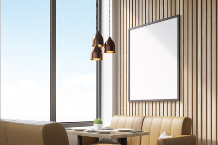 interior window: Close up of a blank poster in a coffee shop interior with beige leather sofas and large windows. 3d rendering. Mock up. Stock Photo