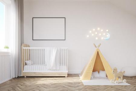 ベビーベッド、テント、ポスター、月と赤ちゃんルームのインテリア。幸せな子供時代のコンセプトです。3 d レンダリング。モックアップを作成し