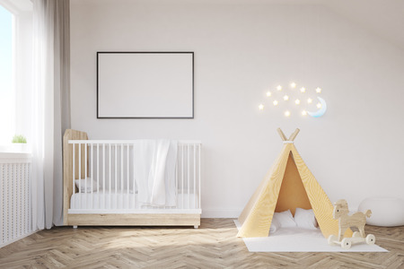Baby room interior with a crib, a tent, a poster and a moon. Concept of happy childhood. 3d rendering. Mock up.