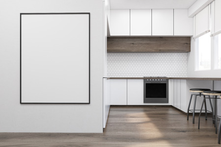 Modern kitchen interior with white furniture, wooden table and an oven. A framed poster is hanging on a wall. Concept of a comfy flat. 3d rendering. Mock up