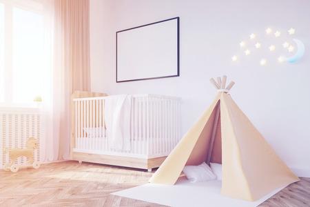 Babykamer In Hoek : Zijaanzicht van een kinderkamer met een bed een boekenkast en een