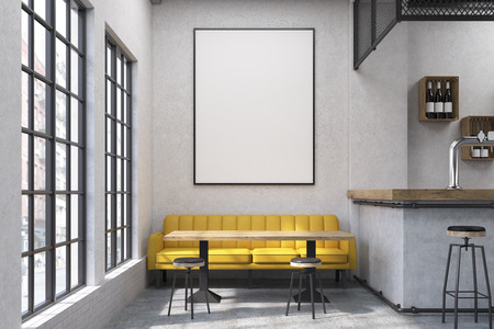 retro restaurant: Close up of a yellow sofa in a cafe with small tables and a bar. Large vertical poster on a concrete wall. 3d rendering. Mock up. Stock Photo